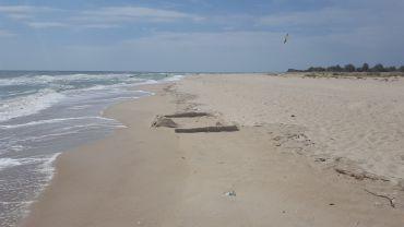 Nudist beach on the spit, Berdyansk