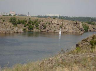 Nudist beach at Naumova gully Khortytsya