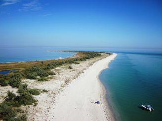 Wild beach on the island Dzharylgach, Skadovsk