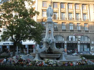 Fountain with sculpture of Virgin Mary in Lviv