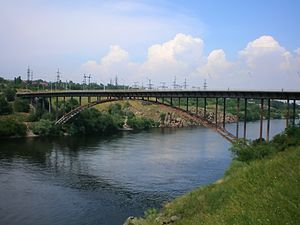 Arch bridge in Zaporozhye (jumping rope)